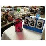 RED GLAASS CANDY JAR