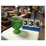 GREEN GLASS FLOWER POT