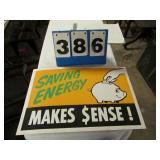 CARDBOARD -- SAVING ENERGY SIGN