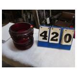 "NAUTICAL NAVIGATION RED GLASS LENS 6"" X 6"""