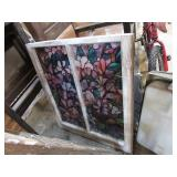 """ANTIQUE STAINED GLASS WINDOW PANE -- 32""""H X 28""""W"""