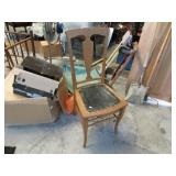 CHAIR W/ LEATHER BOTTOM