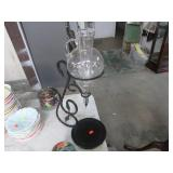 WINE CARAF ON WROUGHT IRON STAND