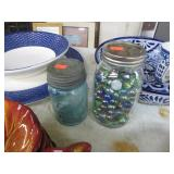 2 BALL CANNING JARS & MARBLES