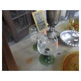 2 GREEN & CLEAR CUT GLASS GOBLETS