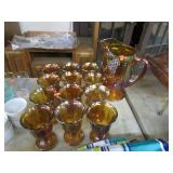 GRAPE & CABLE IRIDESCENT PITCHER & GLASSES