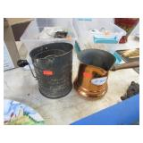 FLOWER SIFTER & COPPER SAUCE PAN