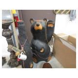CARVED WOOD BEAR & ART BEER BOTTLE