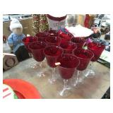12 RED/CLEAR STEMWARE