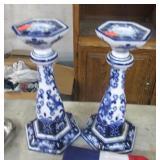 2 FLOW BLUE CANDLE STICKS