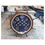 SHIPS WHEEL NAVY PATCH & FLAG DISPLAY
