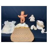 Vintage Dolls, Doll Accessories, and Carpet Bag (small doll is porcelain)