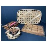 Wooden Compartment Tray, Basket, Vintage Sewing Supplies & Spools