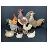 Chicken Decor: Standing Metal Figures & Glass Dishes