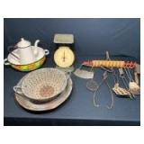 Vintage Kitchen Tools: Strainer, Household Scale, Hanging Utensils, Pitcher & Basin