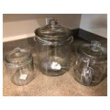 (3) Anchor Hocking Food Storage Containers - .5 gal, 1 gal, 2 gal
