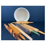 Assortment of Wooden Rolling Pins (one glass) & Bowl