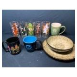 Pepsi Cartoon Character Collector Glasses, Bowl & Plate by Gibson, (2) Coffee Mugs
