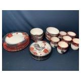Rooster Stoneware by Cracker Barrel: (6) Dinner Plates, (6) Salad Plates, (6) Bowls, (6) Mugs