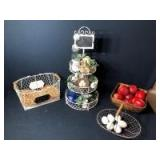 Farmhouse Decor: Tiered Centerpiece with Mini-Chalkboard, Baskets, Wooden Bowl