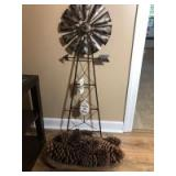 Metal Windmill (44in H), Pine Cone Decor