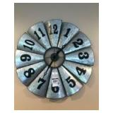 Rustic Galvanized Windmill Clock - Approx. 26in