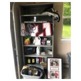 Metal Shelving Unit (37.5 x 18.5 x 84) & Contents: Dale Earnhardt Flag & Collectible Print, Pest Rep