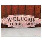 Metal -Welcome To The Farm- Sign- 11in. x 36in.