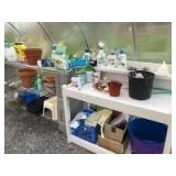 Salvage Lot: Buyer Responsible for Removal - Gardening Supplies, Wire Shelving & Blocks, Planting Pots, Table, and more!