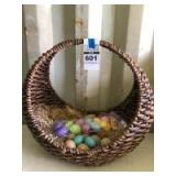 Decorative Wicker Basket w/ Easter Eggs