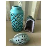 Variety of Decorative Items- Geode, Candle Holder, Fish