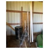 Salvage Lot: Buyer Responsible for Removal - Various Sizes of PVC, Metal Barrel, Step Stool