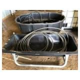 Rubbermaid FG424500 150gal Oval Stock Tank. Tarter Small Animal Galvanized Bunk Feeder (5ft), and Water Hoses