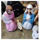 Mary, Joseph, Jesus And Donkey Blow Molds