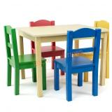 Humble Crew Collection Kids Wood Table & 4 Chair