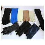leather and poly rayon gloves