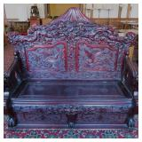 rosewood carved bench, dragons
