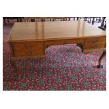 oak carved partners desk