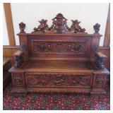 highly carved oak entry bench