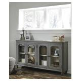 "T505-662 Ashley 68"" Gray Glass Door Accent Cabinet"
