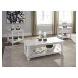 T488 Ashley Antique White Coffee & 2 End Tables