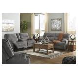 Ashley 453 Coombs Charcoal REC Sofa & Love Seat