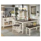 Ashley D583 Whitesburg Table & 4 Chairs + Bench