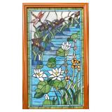 23x36 Framed Stain-Glass Dragonfly Art