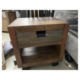 Elements Rustic End Table w/ Wheels