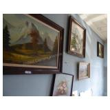4 oil paintings and other