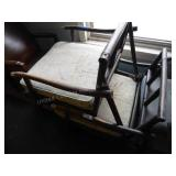 2 wood frame chairs - missing 1 back cushion