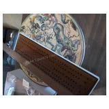 Cribbage board and round puzzle