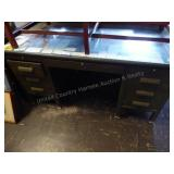 Metal desk with glass top