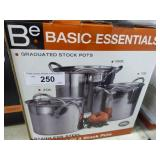3 stainless stock pots